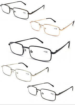 L453 Classic Design Reading Glasses/Spring Hinges/Square Metal Specs/Comfort Arm