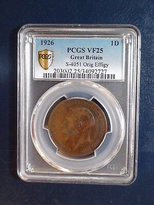 1926 Great Britain Penny PCGS VF25 1P Coin Auction Starts At 99 Cents!
