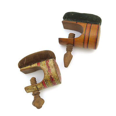 Pair of 19th c. Tunbridge Ware Painted Sewing C-Clamps w/ Pin Cushion ~ AAFA