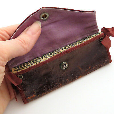 Antique 19th c. Shaker Leather Sewing Pin Case ~ AAFA