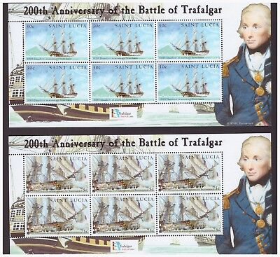St Lucia MNH 2005  Battle of Trafalgar Military, War,ships 4 sheets set mint