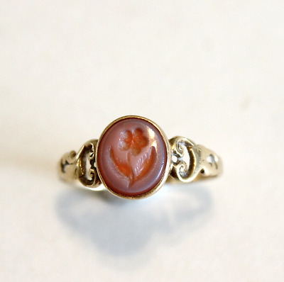 Antique Victorian Carved Sardonyx Intaglio Flower Ring 14k Yelllow Gold Size 8