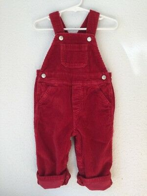 HANNA ANDERSSON Boys / Girls Size 80 Red Wide Wale Corduroy Overall - PRISTINE!