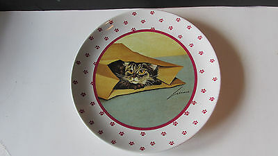 "Lowell Herrero Cat Paw Ceramic Plate ~ 1984 Cat Inside Paper Bag ~ 8"" Diam ~"