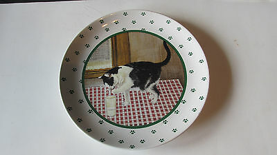 "Lowell Herrero Cat Paw Ceramic Plate ~ 1984 Cat With Glass of Milk ~ 8"" Diam ~"