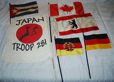 Lot Of 6 Assorted Mini Flags From Japan Canada Germany Silk & Cloth