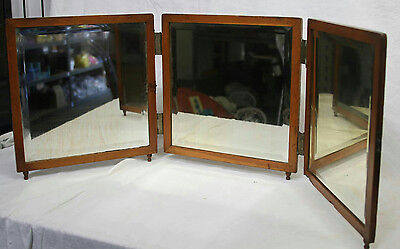 "14"" Antique Patent 1885  Vanity Folding 3 Panel Mirror  With Tin Back P.weiderer"