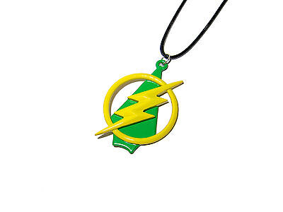 The Flash And Arrow Superhero Logo Lightning Bolt And Arrow Necklace Dc Comics
