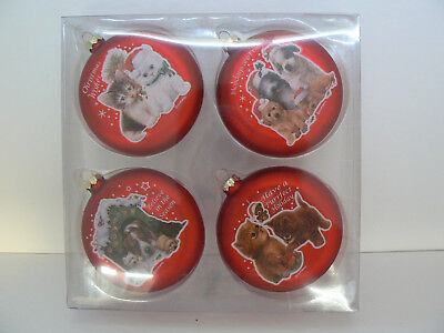 Set Of 4 Dog And Cat Themed Round Glass Ornaments By Giordano Nib