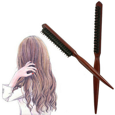 Natural Wood Hair Brush Comb With Wooden Boar Bristles Scalp Massage SW