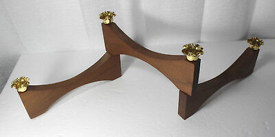 Mid Century Modern Four 4 seat 3 Arm Folding Taper Candlestick Holder Wood Metal