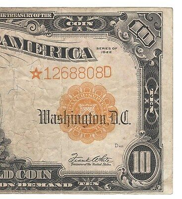 "Nice Looking Large 1922 ""gold"" {Star} Certificate  Rare/scarce Fine+/vf Fr1173*"