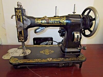 Antique White Rotary 813 H Sewing Machine Beautiful WORKING W Foot Pedal & Light
