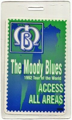 Moody Blues authentic 1992 concert tour Laminated Backstage Pass ALL ACCESS