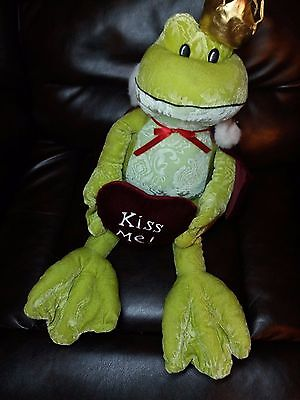 """26"""" Prince Frog Valentines Day Kiss Me Toy Works Green Stuffed Animal Plush(A10)"""