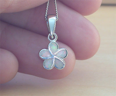 """925 White Opal Daisy Pendant & 18""""Chain/White Opal Necklace/October Birthstone"""