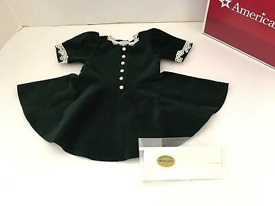 American Girl Molly's Evergreen Christmas Dress & Ribbon  Brand NEW in AG Box