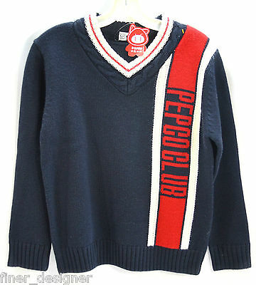 NEW PEPCO CLUB V neck pullover sweater Girls XL Boys L knit Top Red White Blue