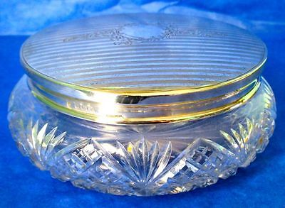 CHARLES S GREEN & CO Powder Jar Art Nouveau Sterling Silver Lid & Crystal Marked