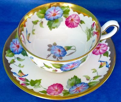 Royal Chelsea Stunning Rich Heavy Gold MORNING GLORY Bone China Cup & Saucer