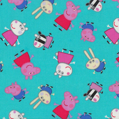 Peppa Pig on Aqua Girls Kids Licensed Quilting Fabric FQ or Metre *New*