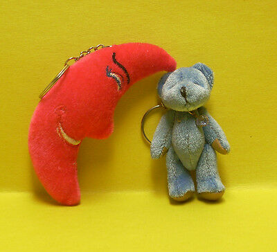 """Plushy 3 """" Blue bear with gem necklace & Vivid pink smiley Moon KEYCHAINS"""