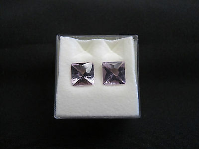 2pcs Amethyst Gemstones Crystals Faceted Square Cut 7mm NEW
