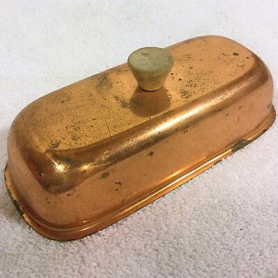 Vintage COPPER Butter Dish COVER w/ WOOD Handle Primitive Antique Needs Cleaning