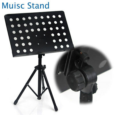 Professional Adjustable Music Stand Heavy Duty Stage Stand Large Black Folding