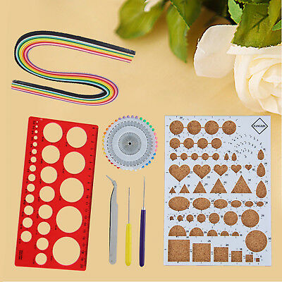 9PCS Starter Quilling Paper Kits Cork Craft DIY Workboard Slotted Creative Tool