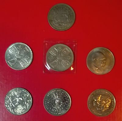 Selection Of Uk 5 Shilling And 1 Crown Coin (1937-1981) George Vi & Elizabeth Ii