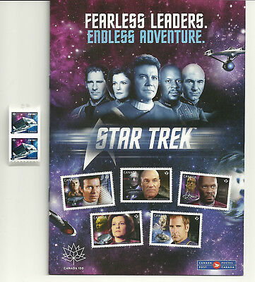 "Star Trek Strip of Two (2) Stamps and a ""Fearless Leaders"" Magazine"