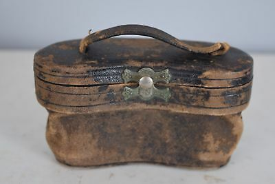 French Antique Opera Glasses Leather Storage Case