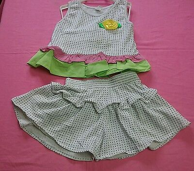 True Vintage 1970s girl summer shorts sz 5 to 6 yr shirt 2 pc Carters pristine