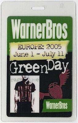 Green Day authentic 2005 Laminated Backstage Pass American Idiot Europe Tour