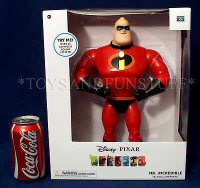 "New 12"" MR. INCREDIBLES TALKING SUPERHERO Figure Thinkway Toys PIXAR COLLECTION"