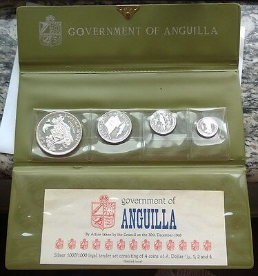 Anguilla 1969 Mint Pack Set of 4  Silver Coins,Proof
