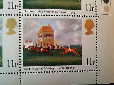 GB mint unmounted block of 12 First Spring Meeting Newmarket 1793 (issued 1979)