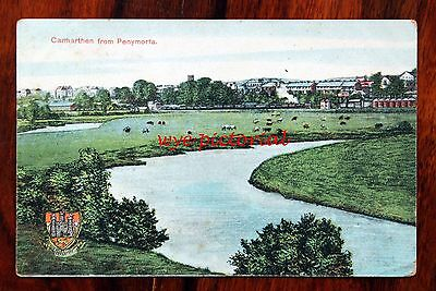 Carmarthen From Penymorfa Carmarthenshire  - Printed Postcard With Crest