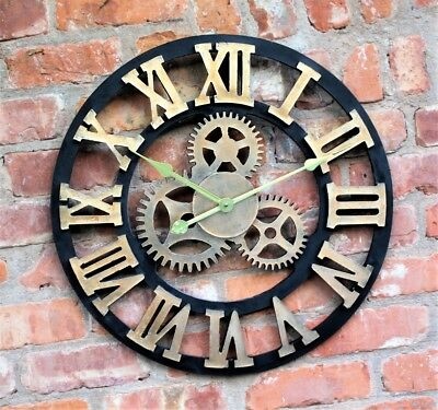Large Outdoor Garden Wall Clock Roman Numerals Giant Rustic Cogs Face Resin 58Cm
