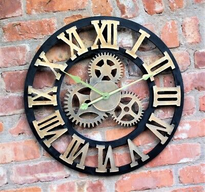Large Outdoor Garden Wall Clock Roman Numerals Giant Rustic Cogs Face Metal 58Cm
