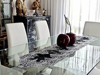 Magnificent Silver Embroidery On Black Organza Table Runner