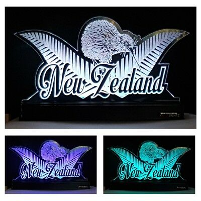 Kiwi NZ LED Night Light Kiwiana Silver Fern Aotearoa Changing Colours Remote