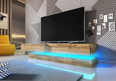 Floating Oak Wotan Wall Mounted TV Unit Fly 140 cm Modern TV Stand Cabinet LED