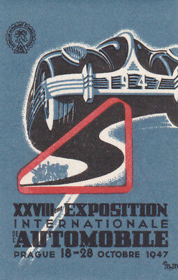 Czech Republic :  Exposition International AUTOMOBILE, 1947 ; Poster Stamp