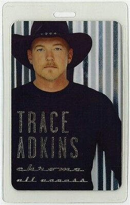 Trace Adkins authentic 2001 concert Laminated Backstage Pass Chrome Tour AA