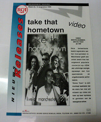 Take That Holland Rca 1995 Promo Release Sheet Robbie Williams Hometown