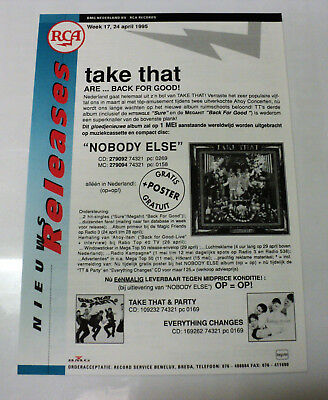 Take That Holland Rca 1995 Promo Release Info Sheet Robbie Williams Nobody Else