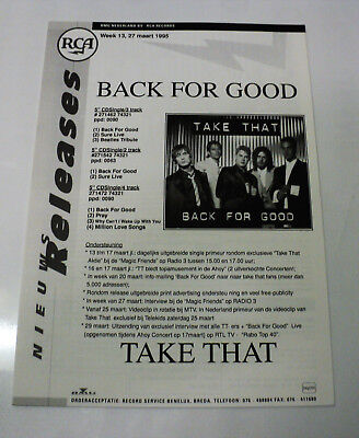 Take That Holland Rca 1995 Promo Release Sheet Robbie Williams Back For Good