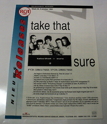 Take That Holland Rca 1994 Promo Release Info Sheet Robbie Williams Sure